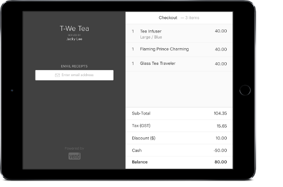 Vend customer screen on an iPad