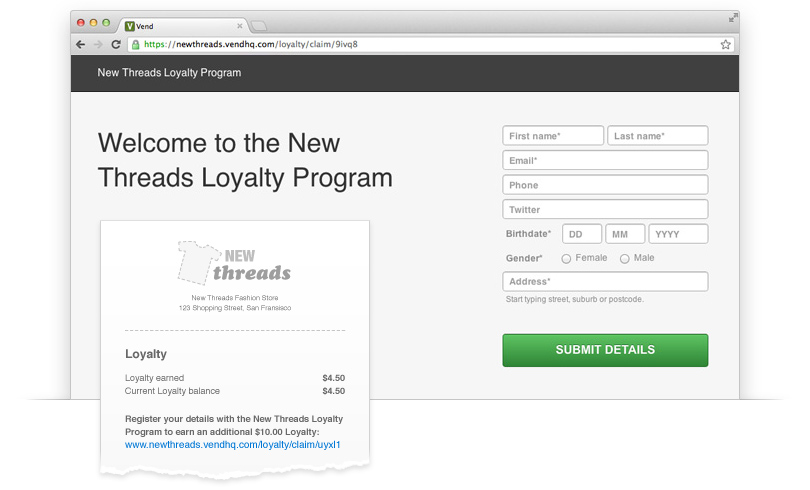 Customer portal in Vend's customer loyalty reward program.